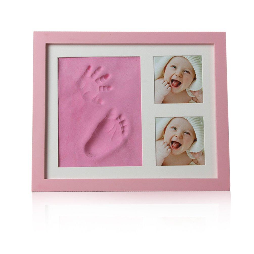 Baby Hand and Footprint Kit, Newborn Keepsake for Registry, Wooden Photo Frame, Baby footprint Kit Decorations for Room or Nursery Decor Feiyar