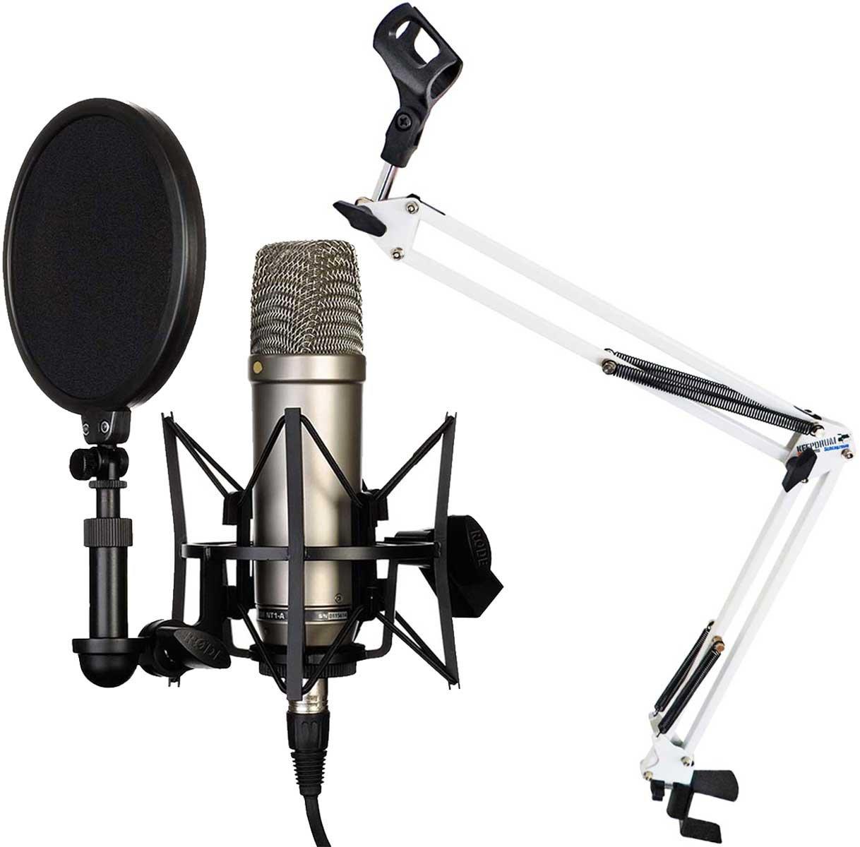 Blu Rode NT1-A Set con microfono a condensatore supporto a braccio snodabile Keepdrum NB35