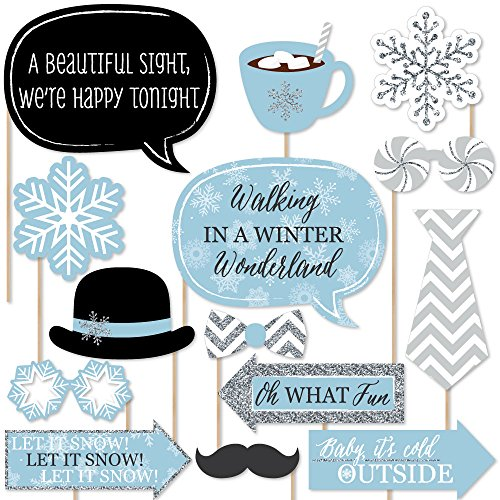 Winter Wonderland - Snowflake Holiday Party & Winter Wedding Photo Booth Props Kit - 20 Count (Winter Wonderland Backdrop)