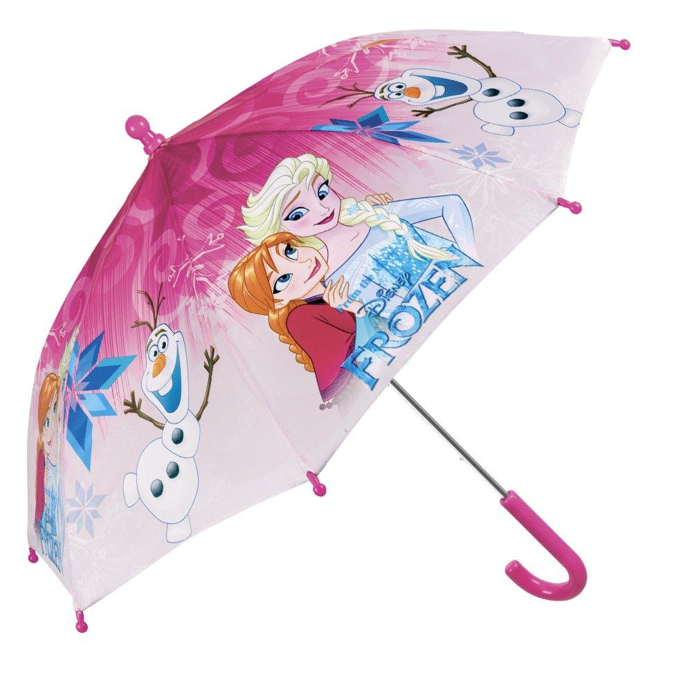 Kinder Schirm Disney Frozen Die Eiskönigin für Mädchen - Stockschirm mit Elsa Anna und Olaf - Robuster und windfester Regenschirm - Rosa - 66 cm Durchmesser - 3 bis 5 Jahre - Perletti 50215