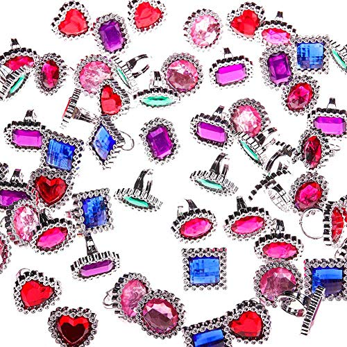 DSSY 72 Pieces Plastic Colorful Rhinestone Gem Rings Adjustable Big Jewel Rings Princess Theme Party Favor by DSSY