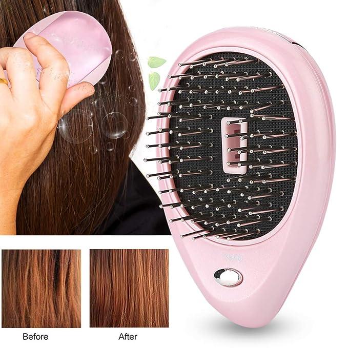 Mini Cepillo para el Pelo Ion Cepillo Masaje de Vibración de Iones Portátilpara el Cabello Brillante sin Encrespamiento(rosa): Amazon.es: Belleza