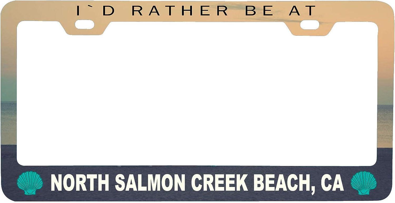R and R Imports North Salmon Creek Beach California Sea Shell Design Souvenir Metal License Plate Frame
