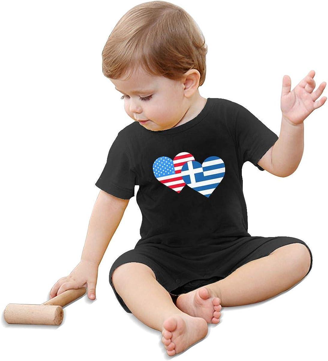 Mri-le1 Baby Girls Short Sleeved Coveralls American Greece Greek Heart Flag Kid Pajamas
