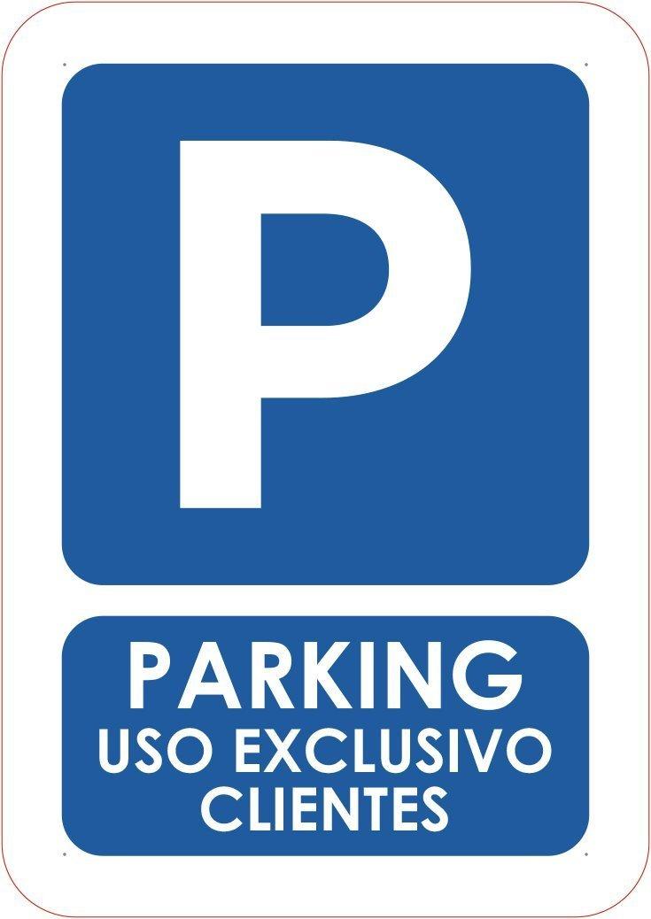 Oedim Señaletica Para Exteriores Parking uso exlusivo clientes Tamaño A5 (21x14,8cm) | Señaletica en material aluminio 3 mm resistente: Amazon.es: Hogar