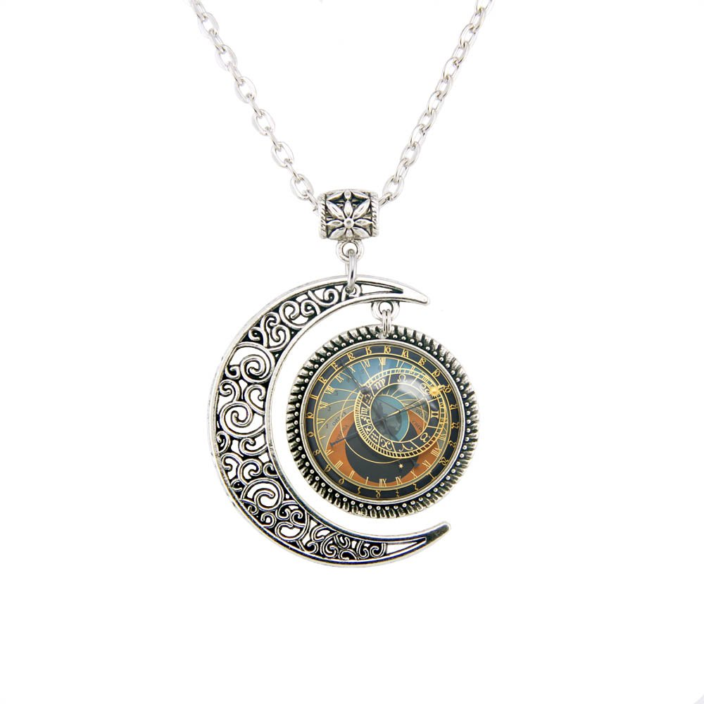 Amazon.com: Moon pendant Astronomical CLOCK Pendant Astronomical Clock Zodiac necklace Astronomical Clock jewelry: Jewelry