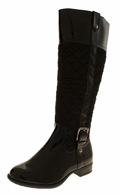 0446ee135fe Manfield Flb440 Womens Black Patent Quilted Knee High Biker Boots 3 UK (36  EUR)