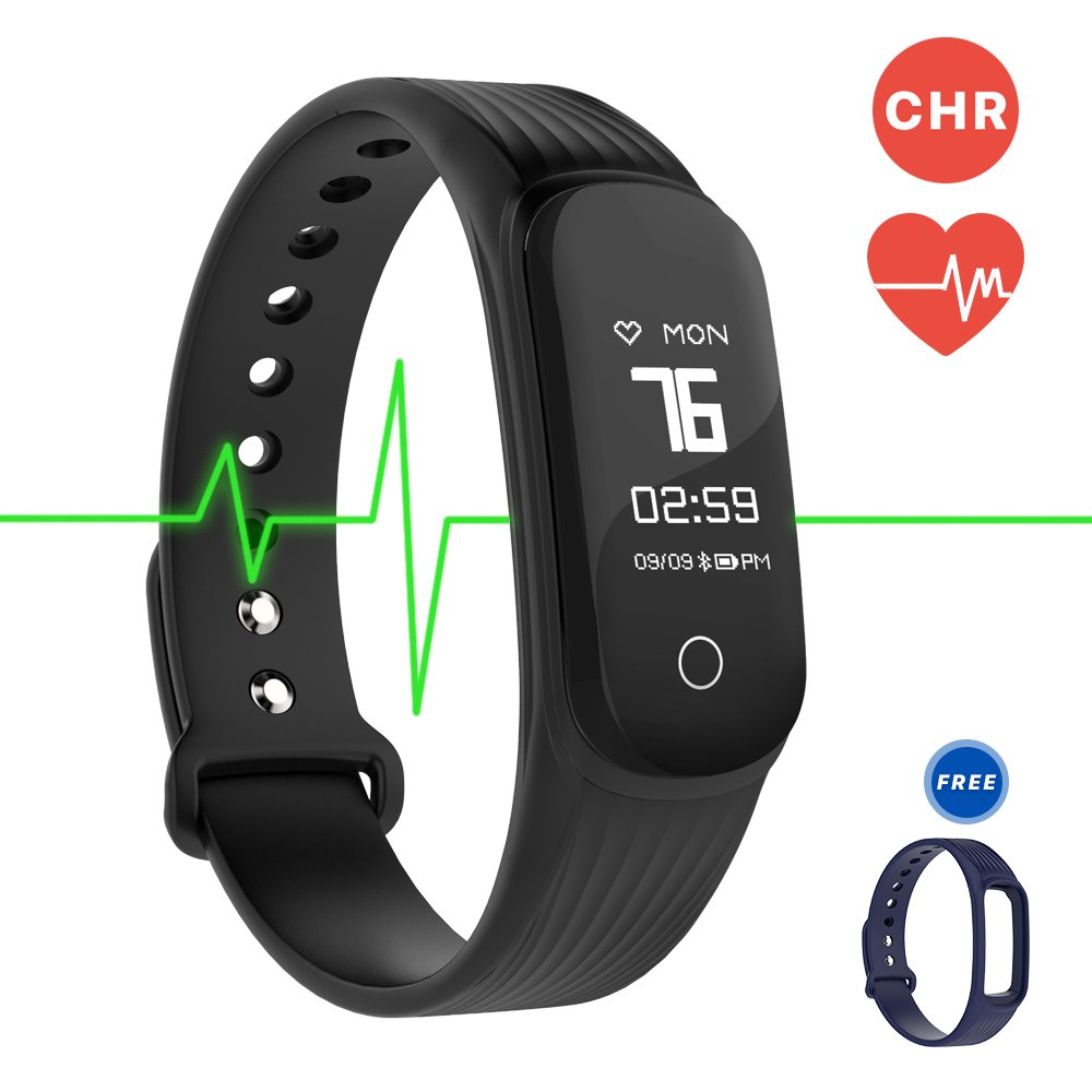 MGcool Fitness Tracker Smart Band Continuous Heart Rate Monitor, B3 / B4 Activity Tracker Bracelet Sleep Monitor Step Counter Stopwatch Distance Smart Watch Reminder, (Band4-Black/Blue)