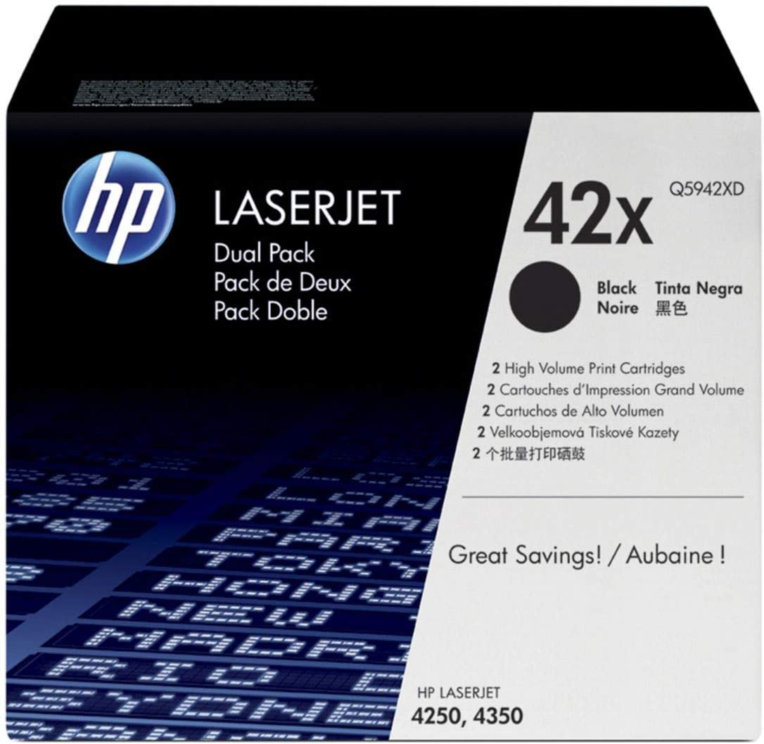 HP 42X | Q5942XD | 2 Toner Cartridges | Black | High Yield