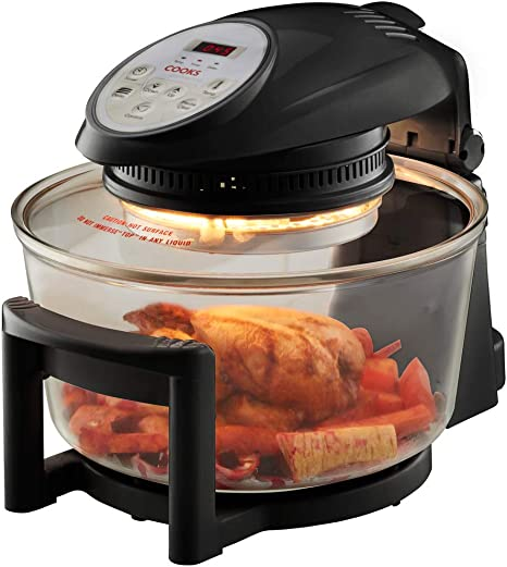 Cooks Professional Electric Halogen Oven with Hinged Lid - 12 L + 5 L Extender Ring Capacity