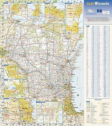 Wisconsin - Mapa de pared de papel de 47 x 50 cm: Amazon.es: Oficina y papelería