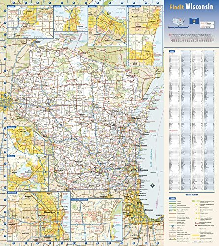 (Wisconsin State Wall Map - 18.5