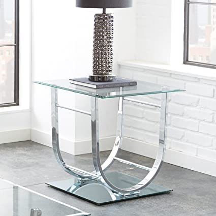 Steve Silver Natalie Square Glass Top End Table In Chrome