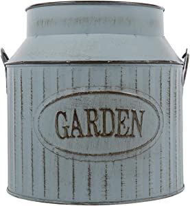 Plant pots Big, Metal Flower Bucket Pails with Handles Rustic Farmhouse Galvanized Planters Metal Milk Can Tin French Country Vase Bucket Planter Jug for Country Rustic Home Decor