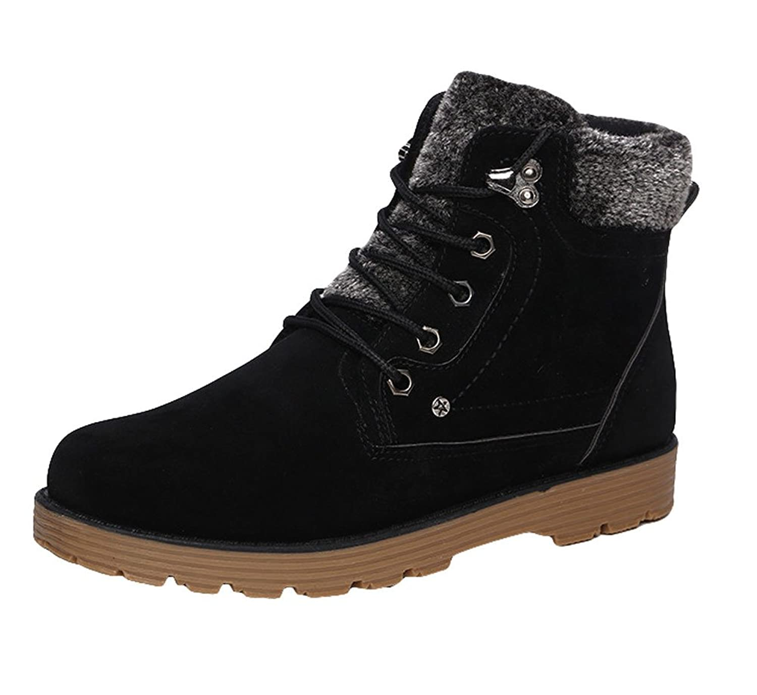 King Ma Mens Thicken Faux Fur Lace-up Cotton Boots Snow Boots