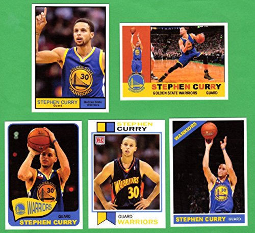 Stephen Curry* *Set of 5 Custom Cards with Classic Topps Designs 1960, 1961, 1965, 1966, 1973 (Warriors)