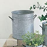 Time Concept Normandie Round Plant Pot - Large - Tinplate Portable Flowerpot