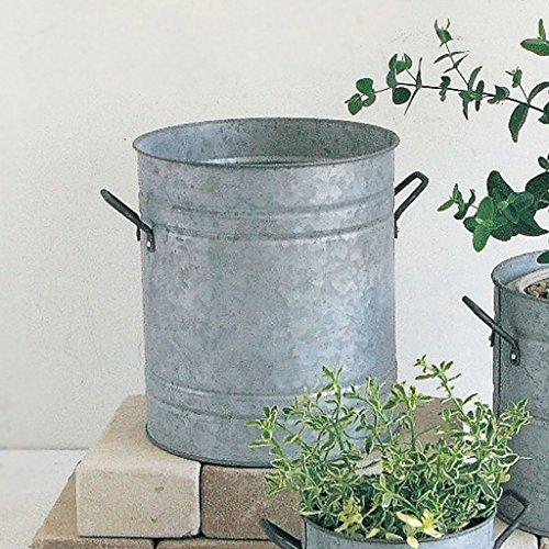 Time Concept Normandie Round Plant Pot - Large - Tinplate Portable Flowerpot by Time Concept