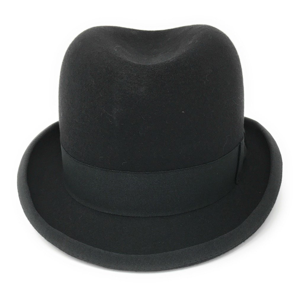 New Edwardian Style Men's Hats 1900-1920 Cotswold Country Hats Black Wool Felt Homburg Mens Hat S/M/L/XL/XXL £36.95 AT vintagedancer.com