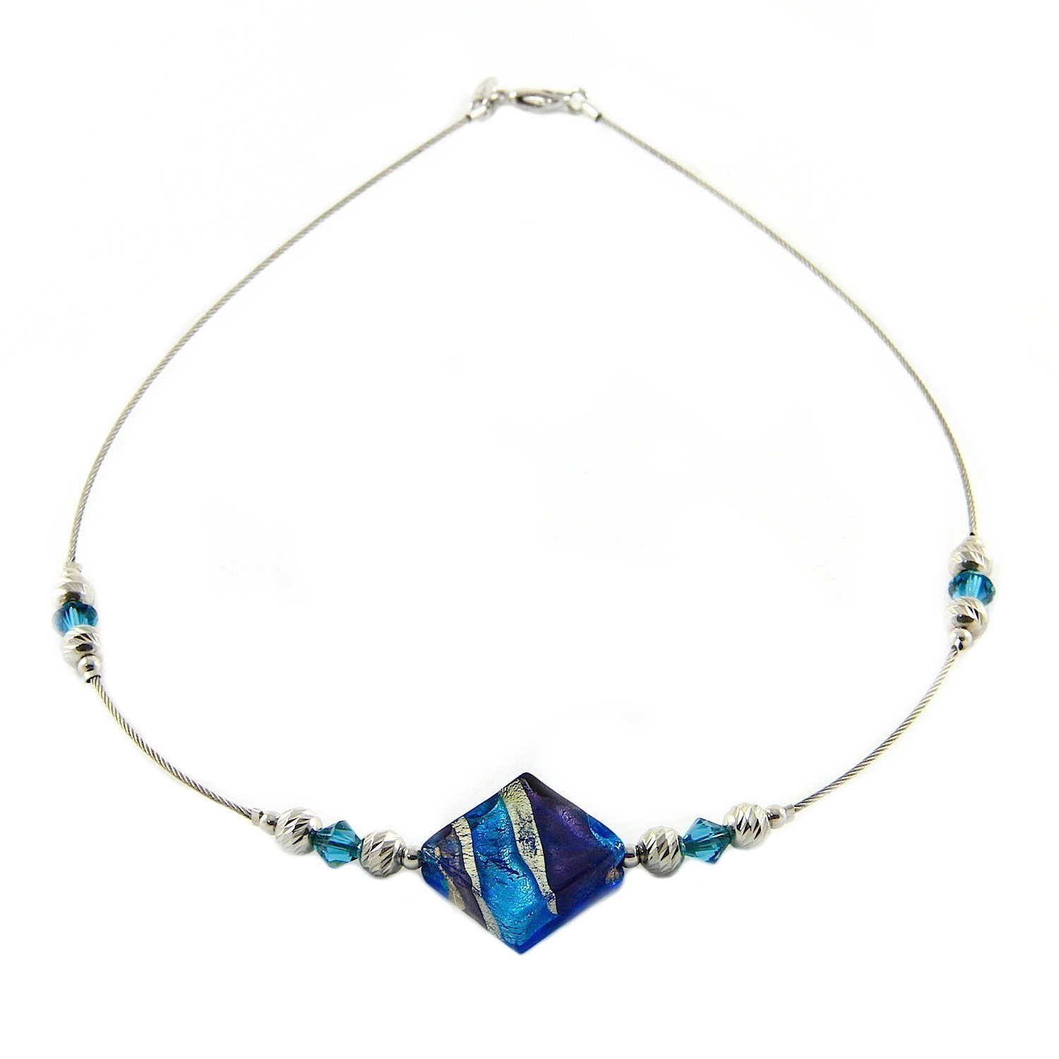 Woman's choker in 925 silver, Murano glass and Swarovski crystals mounted on a stainless steel cable. CAR906-W01