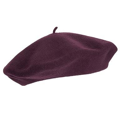 Laulhère Hats Paris Merino Wool Beret - Prune 1-Size  Amazon.co.uk ... bf67b055109