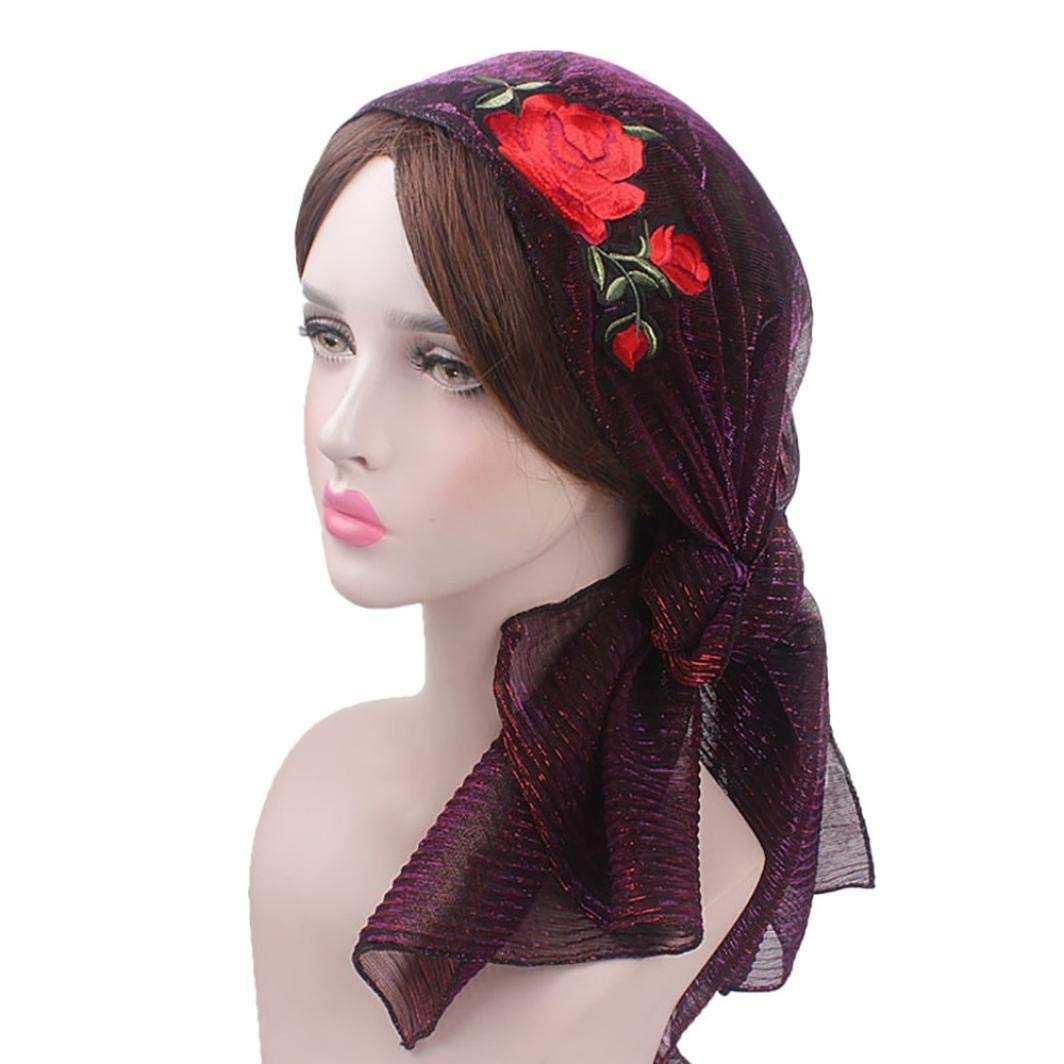 HYIRI Women Silk Applique Muslim Hat Stretch Retro Turban Hat Head Scarf Wrap Cap