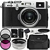 Fujifilm X100F Digital Camera (Silver) 9PC Accessory Bundle – Includes 3 Piece Filter Kit (UV + CPL + FLD) + Variable Neutral Density Filter (ND2-ND400) + MORE