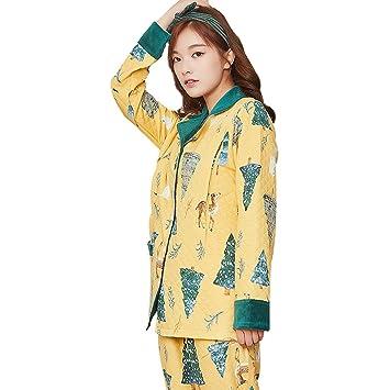 ce3302943b4f0 Vêtements de Nuit Pyjamas Femmes Enceintes Coton Manches Longues Chemise De  Nuit Jaune Vif Grossesse Homedressing
