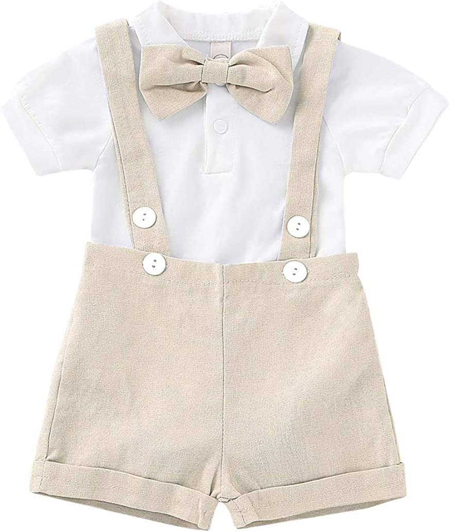 Cotrio Baby Boys Gentleman Outfits Suits Infant Suspender Straps Clothing Set