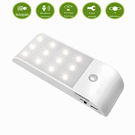 Recargable Lámpara LED del Armario,12 LED Sensor de Movimiento Mini USB Làmpara con Banda