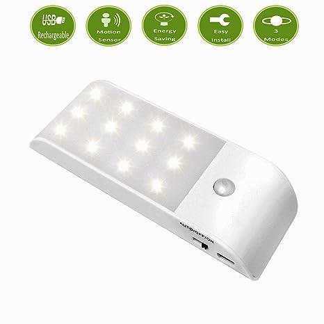 Recargable Lámpara LED del Armario,12 LED Sensor de Movimiento Mini USB Làmpara con Banda
