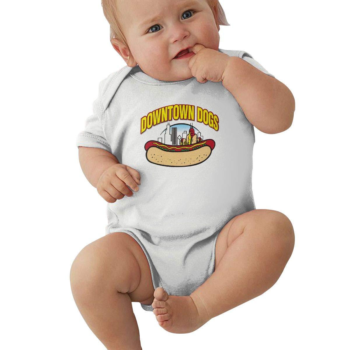 Hot Dog Logo Hip Hop Newborn Baby Short Sleeve Bodysuit Romper Infant Summer Clothing Black