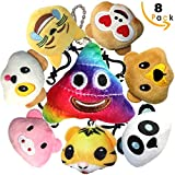 Emoji Keychain Stuffed Animals & Plush Toy Mini Pillow for Boy & Girl, Emoticon Key Chain Pendant Decoration Backpack Clip, Kids Birthday Party Supplies Favor, Bonus 4 inch Rainbow Poop Emoji-Pop Gift