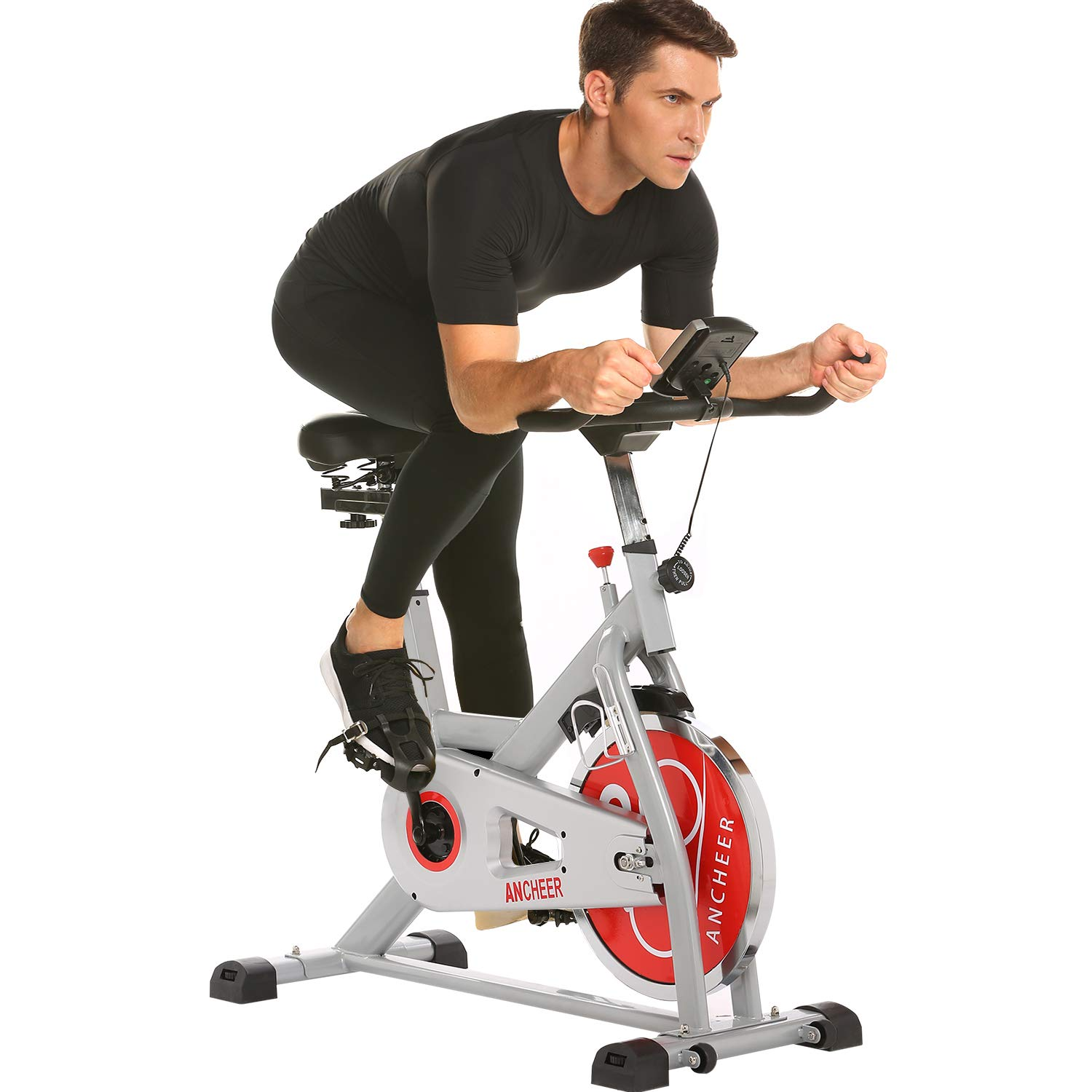 ANCHEER Indoor Cycling Bike, 49 lbs Flywheel Indoor Cycling Exercise Bike with Quiet Smooth Belt Drive System, Adjustable Seat & Handlebars & Base (Sliver)