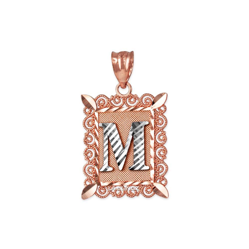 LA BLINGZ 10K Rose Gold Filigree Alphabet Initial Letter M DC Charm Necklace