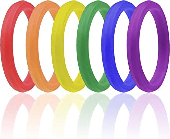 Gay Pride Day Ring for Men and Women His /& His//Her /& Her Silicone Rubber Wedding Bands 6 Pack Stackable