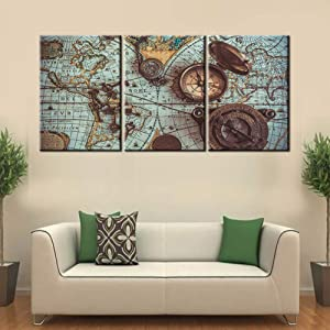 Wall Pictures for Living Room Old World Map Painting Vintage Pirate Compass Artwork 3 Piece Metal Key Wall Art Prints on Canvas House Decor Wooden Framed Gallery-Wrapped Ready to Hang(48''Wx24''H)