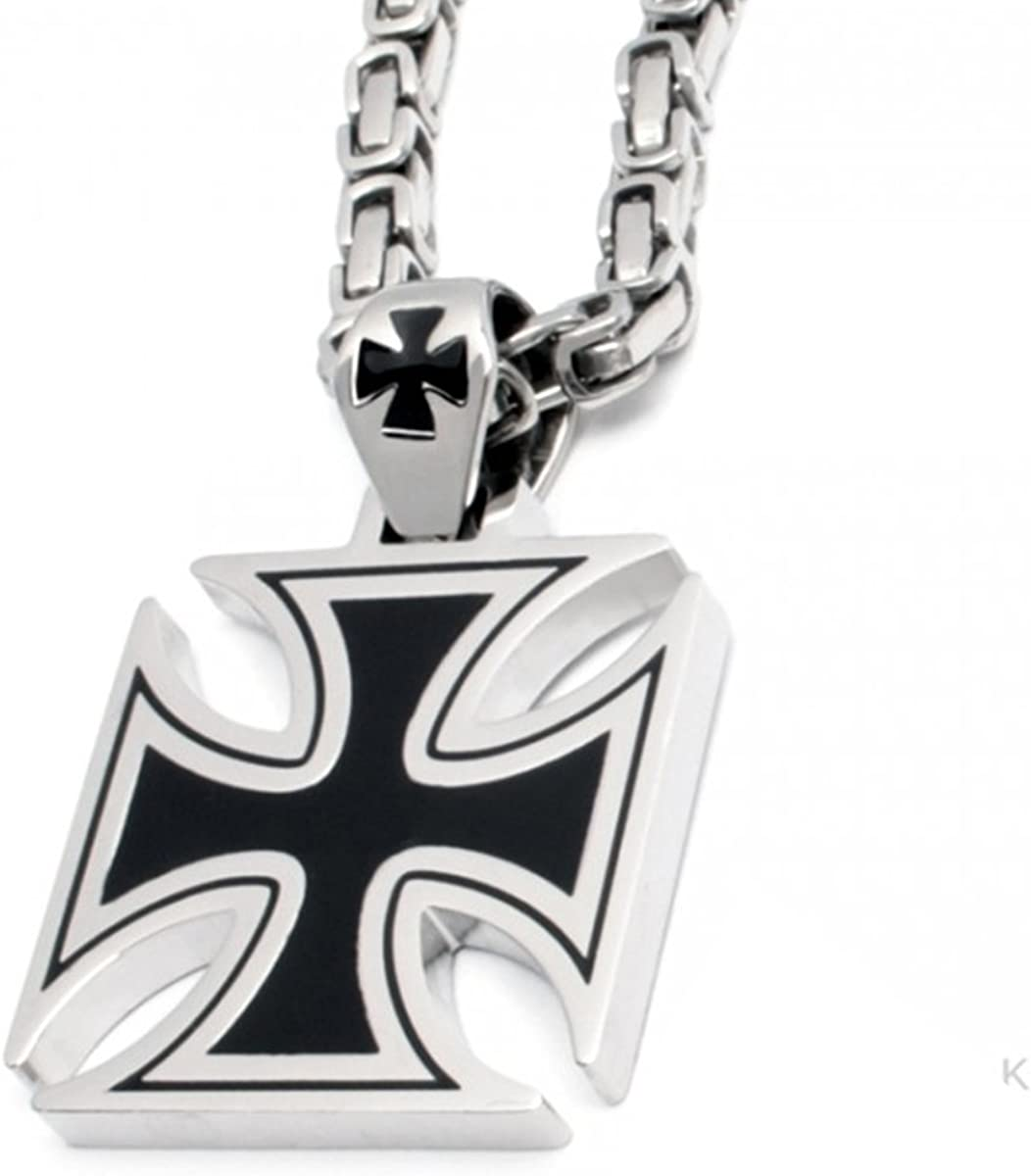 Joyas Colgante Cruz de Hierro Negro de acero inoxidable Ornamental con 60cm Cadena bizantina Ideal para hombre y mujer