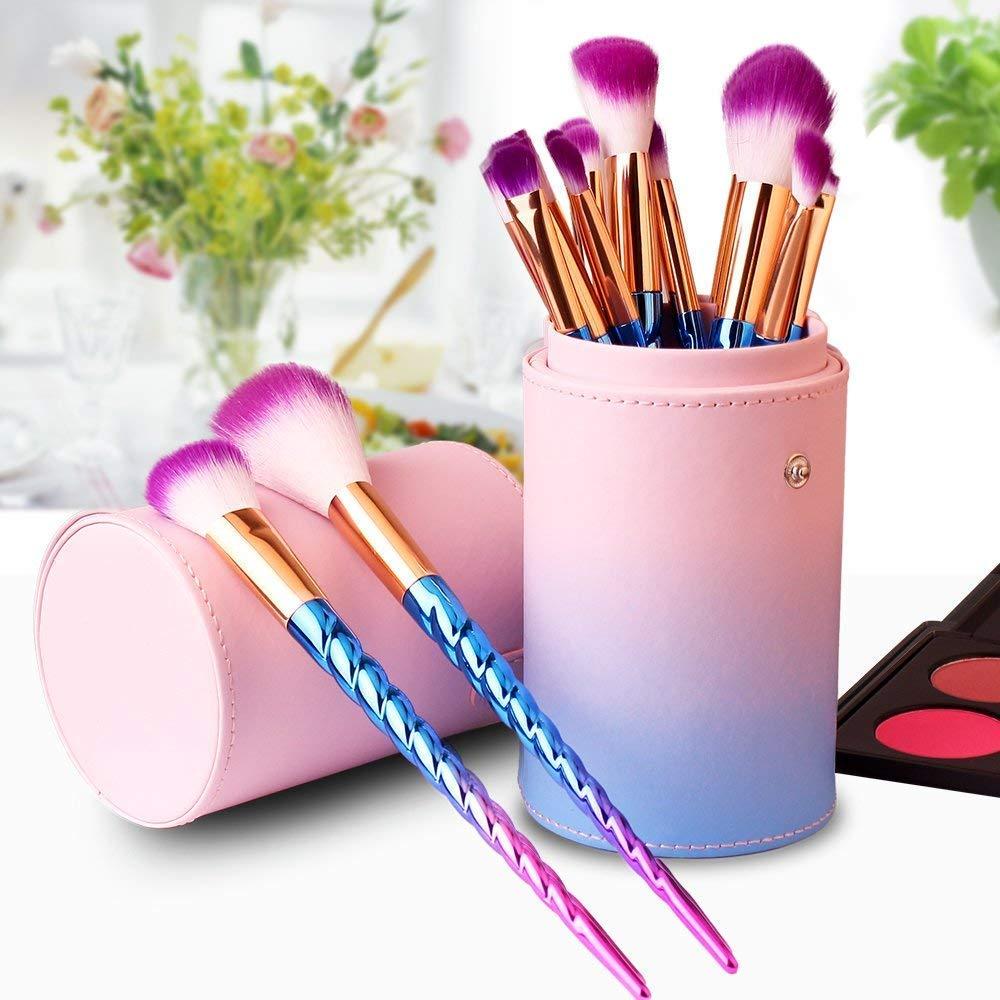 12 Pcs Kit De Pinceau Maquillage, Pinceau Fond de Teint, Pinceau à Poudre, Pinceau Ombre à Paupières, Pinceau Eyeliner avec jolie boîte à brosse multicolore (Rose) Leeron
