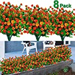 TURNMEON-8PCS-Artificial-Flowers-Outdoor-UV-Resistant-Plants-8-Branches-Faux-Plastic-Greenery-Shrubs-Plants-Indoor-Outside-Hanging-Planter-Kitchen-Home-Wedding-Office-Garden-Decor
