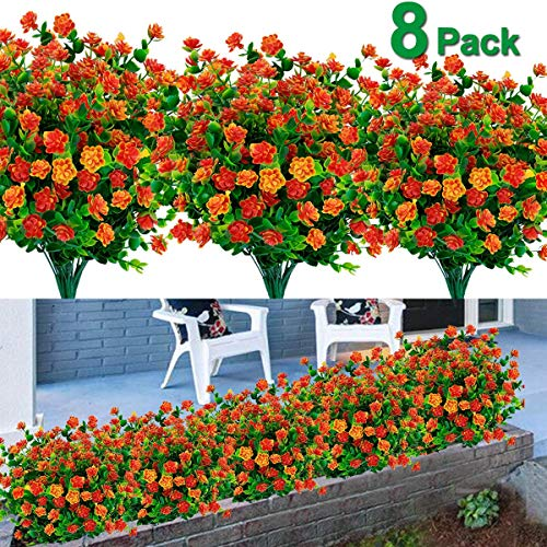 8PCS Artificial Flowers Outdoor UV Resistant Plants, 8 Branches Faux Plastic Greenery Shrubs Plants Indoor Outside Hanging Planter Kitchen Home Wedding Office Garden Decor (Outdoor Artificial Plants)
