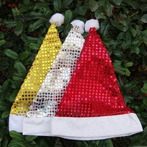 HuntGold 2X Paillette Sequins Design Christmas Cosplay Santa's Party Happy Soft Warm Hat (Red Sequin Santa Hat)