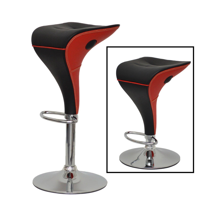TS-Ideen D01 Sgabello da bar cromato con poggiapiedi Nero//Rosso colore