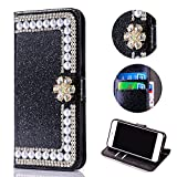 Bling Glitter Case for Samsung Galaxy J7 2018,Shinyzone Luxury Diamond [3D Flower Magnetic Buckle] [Stand Feature] Leather Wallet Protective Cover for Samsung Galaxy J7 2018,Black