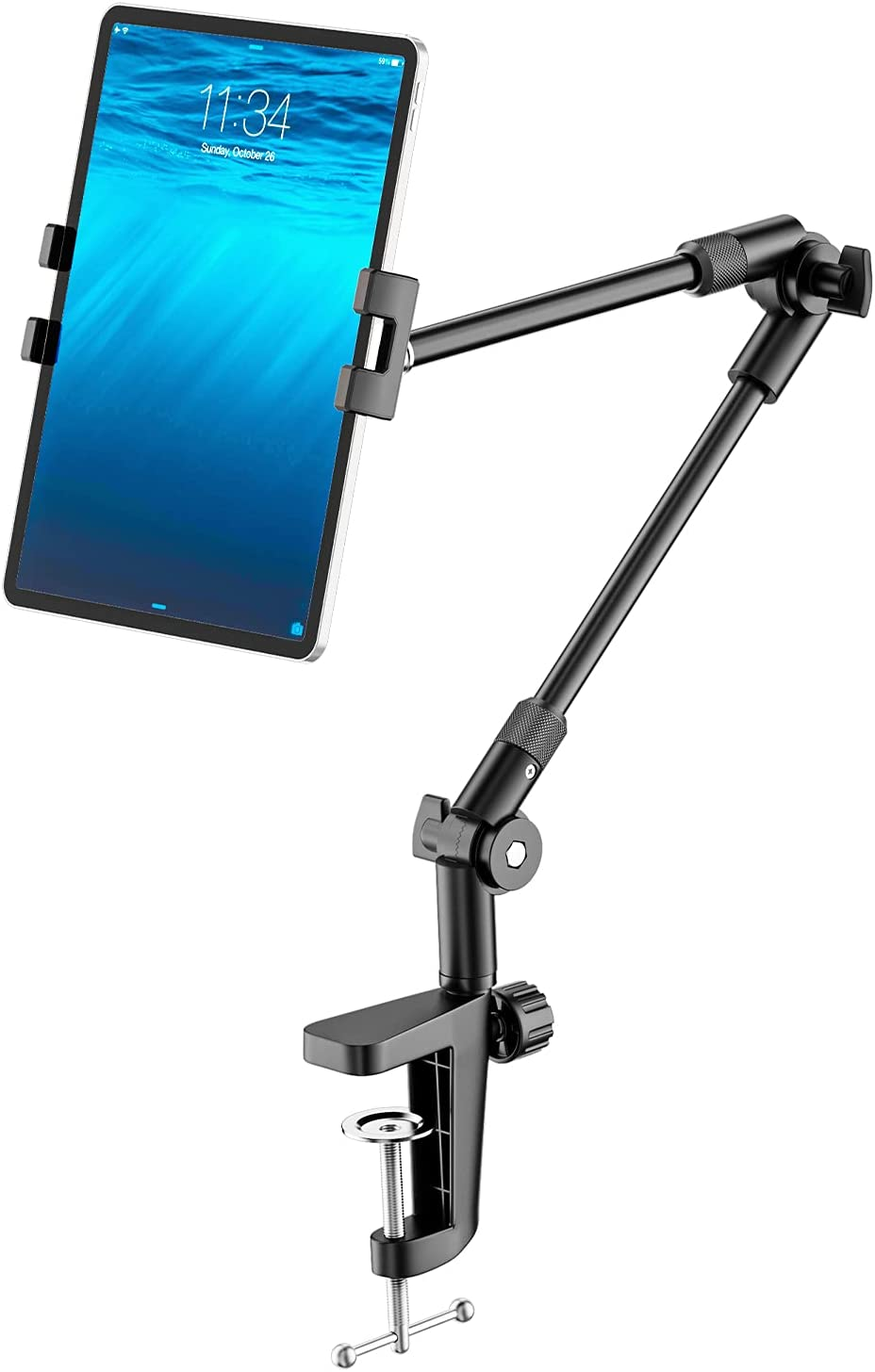 Tablet Stand Holder with 360° Phone iPad Tripod Mount, 27in Long Arm Webcam Stand Projector Camera Mount for Desk, Fit for 4.7