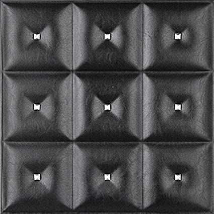 leather wall panels bedroom 3d faux leather wall panel lt19 black diamond the set of glue amazoncom