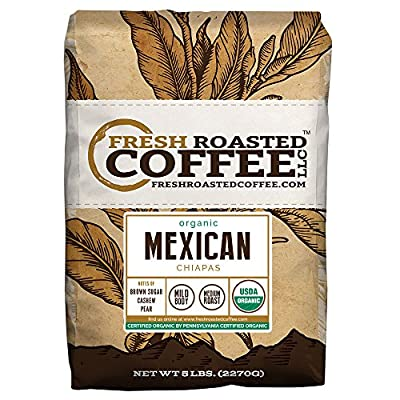 Mexican Chiapas Organic Coffee, Whole Bean, Fresh Roasted Coffee LLC by Fresh Roasted Coffee LLC.
