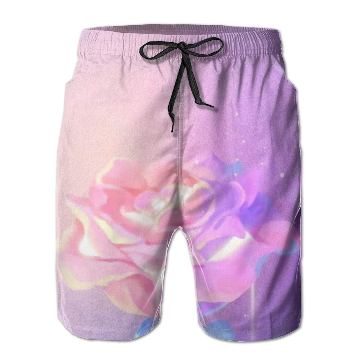 LDFUMG Moon Rose Mens Beach Board Shorts Quick Dry Summer Casual Swimming Soft Fabric with Pocket