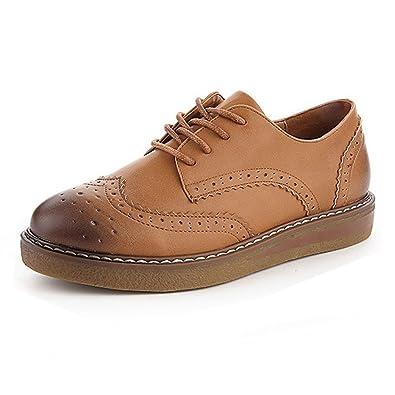 JRenok Brogues Derbies Mocassins Femme Chaussures de Ville à Lacets Baskets  en Cuir Casual Mode Antidérapantes 9346cdf5cf4d
