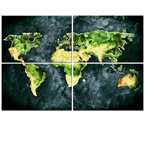 Visual Art Decor Abstract Retro World Map Canvas  Wall Decor